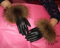 Tan or Black Leather Gloves with Raccoon Fur Trim